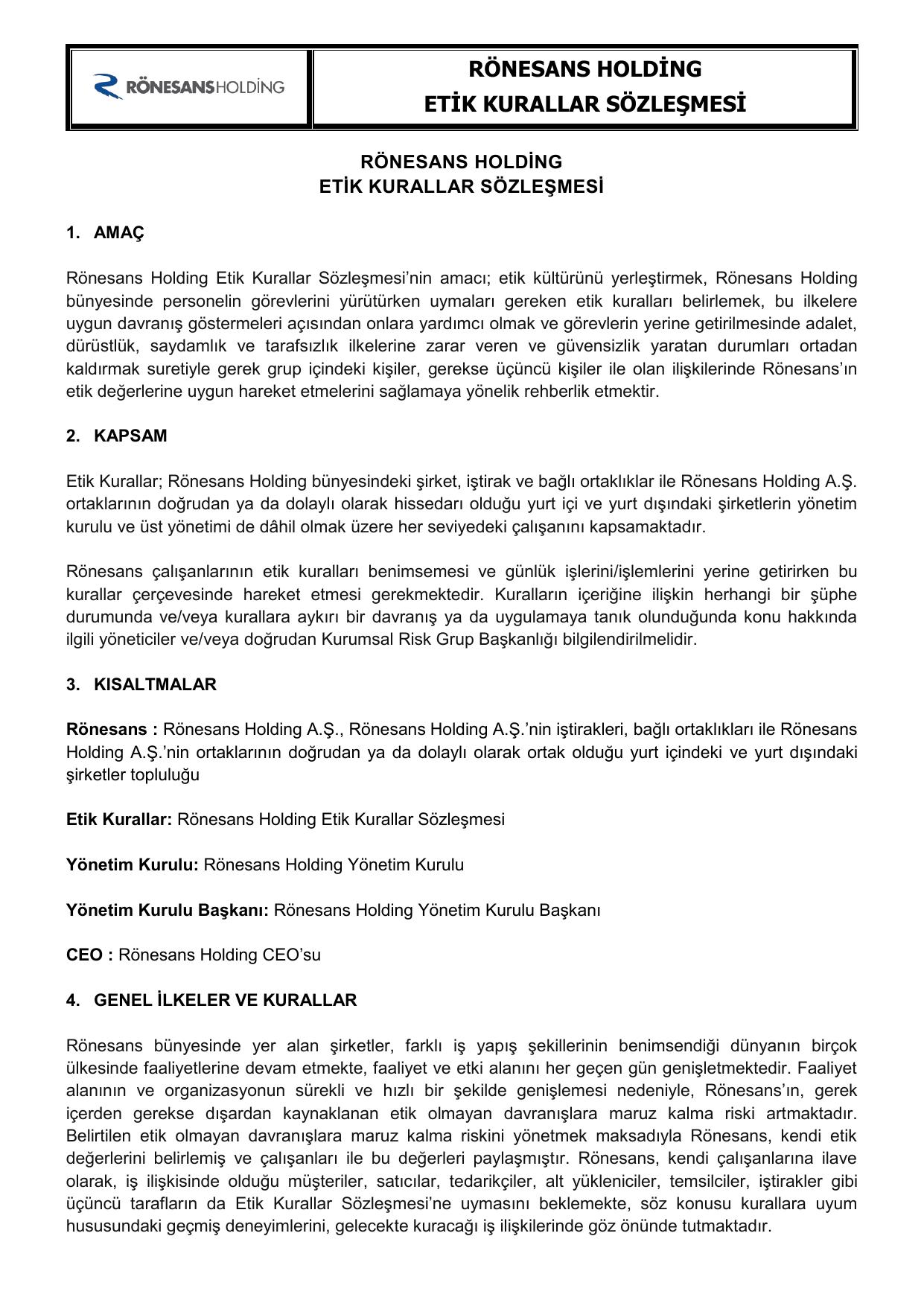 Rönesans Holding Etik Kurallar Sözleşmesi