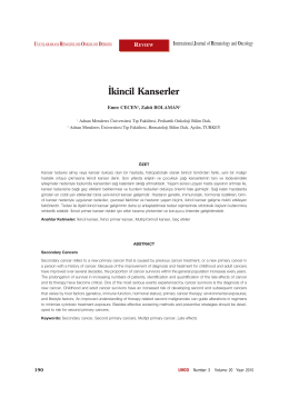 kincil Kanserler - International Journal of Hematology and Oncology
