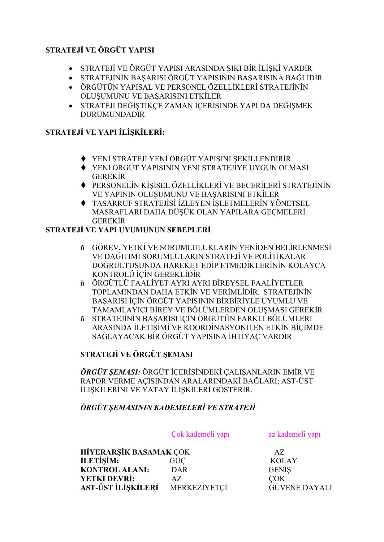 Örgüt türleri ve kısa özellikleri