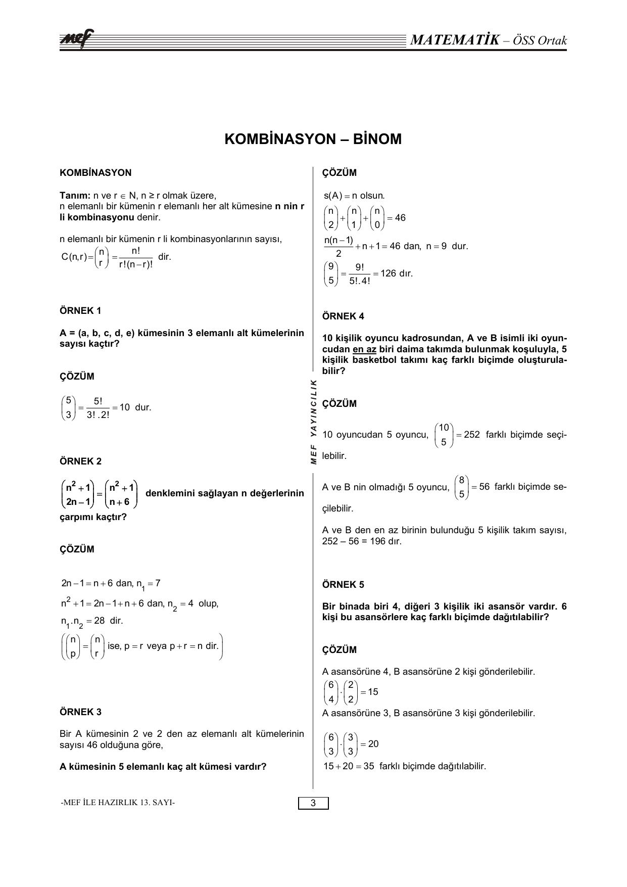 Kombinasyon Binom Bogaziciliden Ozel Matematik Dersi