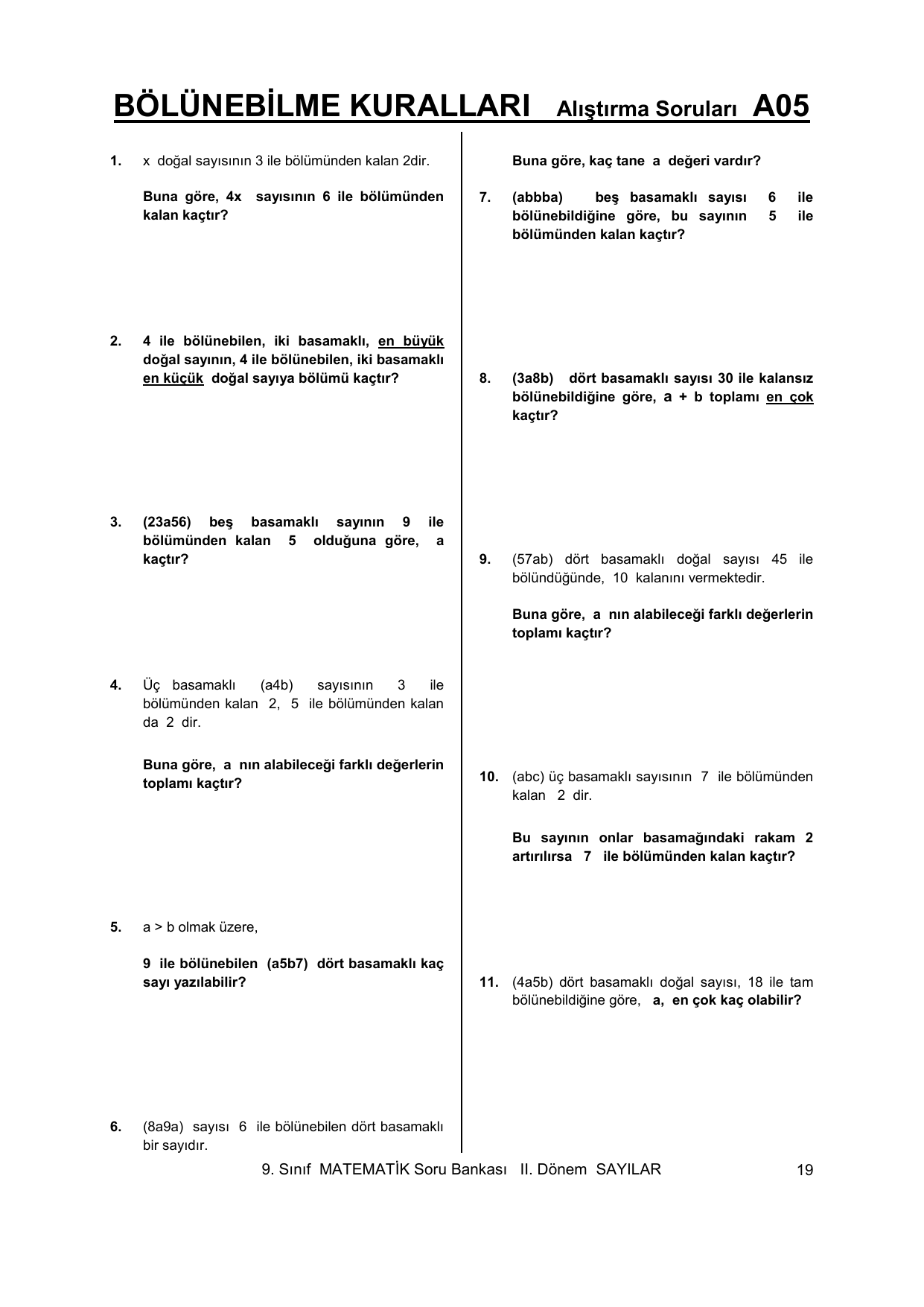 Bolunebilme Kurallari Alistirma Sorulari A05
