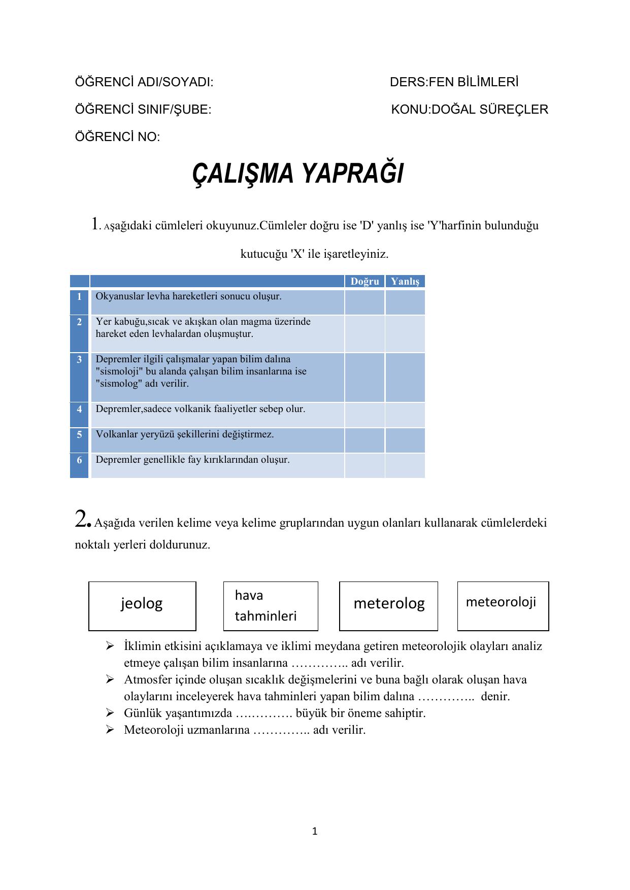 Calisma Yapragi