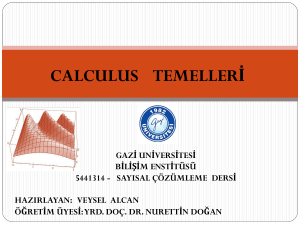 CALCULUS VE TEMELLER*