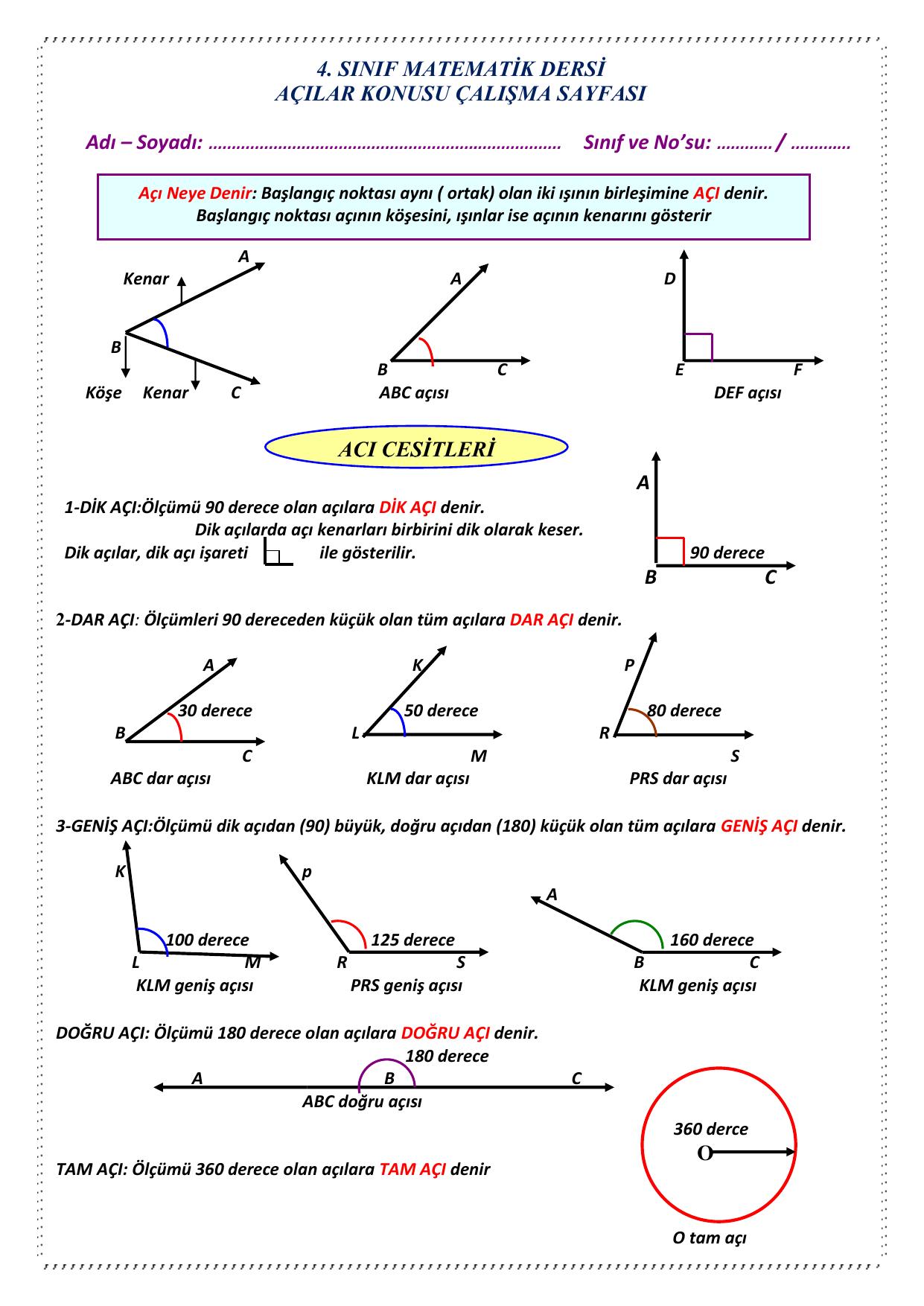 4 Sinif Matematik Dersi Acilar Konusu Calisma Sayfasi