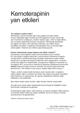 Kemoterapinin yan etkileri - Paediatric Integrated Cancer Services