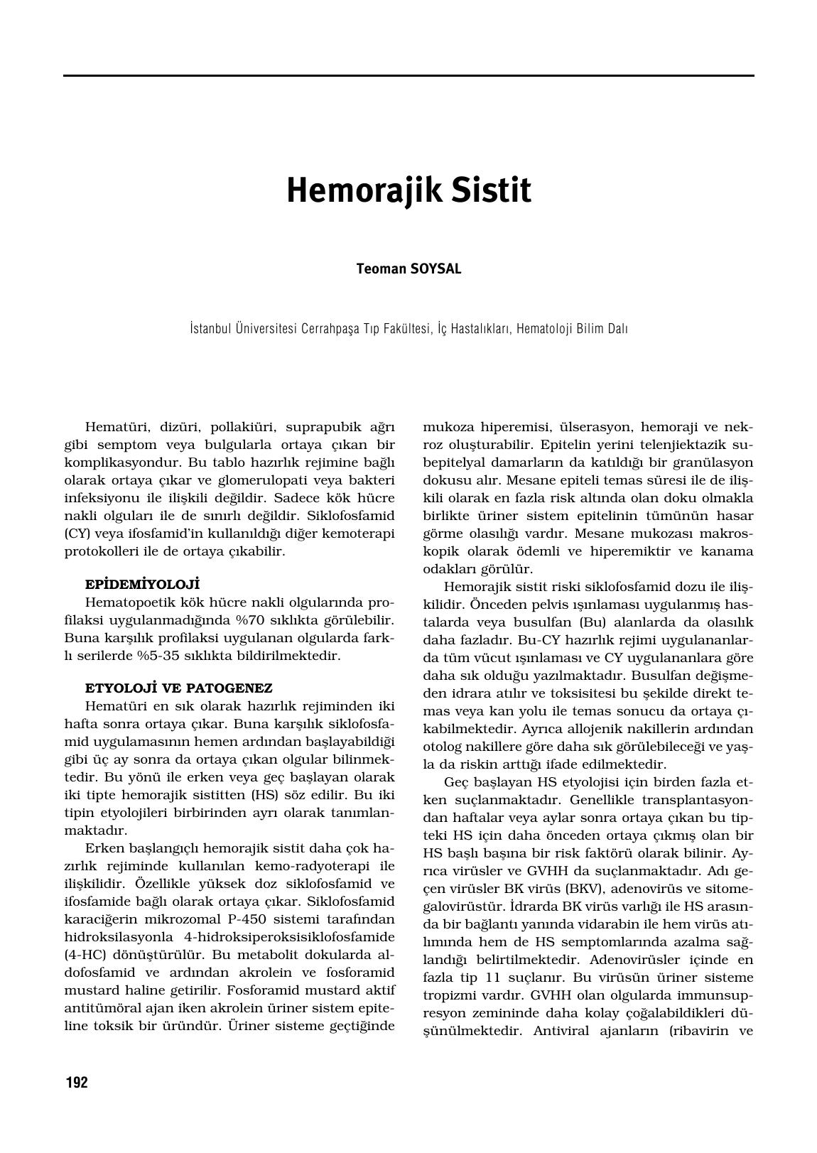 Hemorajik sistitin nedenleri, semptomları ve tedavisi