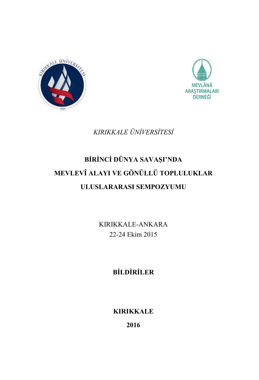 Kırıkkale üniversitesi Birinci Dünya Savaşında An