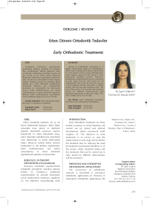 Early Orthodontic Treatments - Turkish Journal of Orthodontics