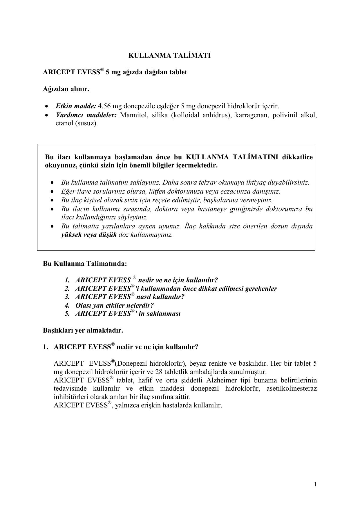 İlaç 5-NOC. Kullanım talimatları