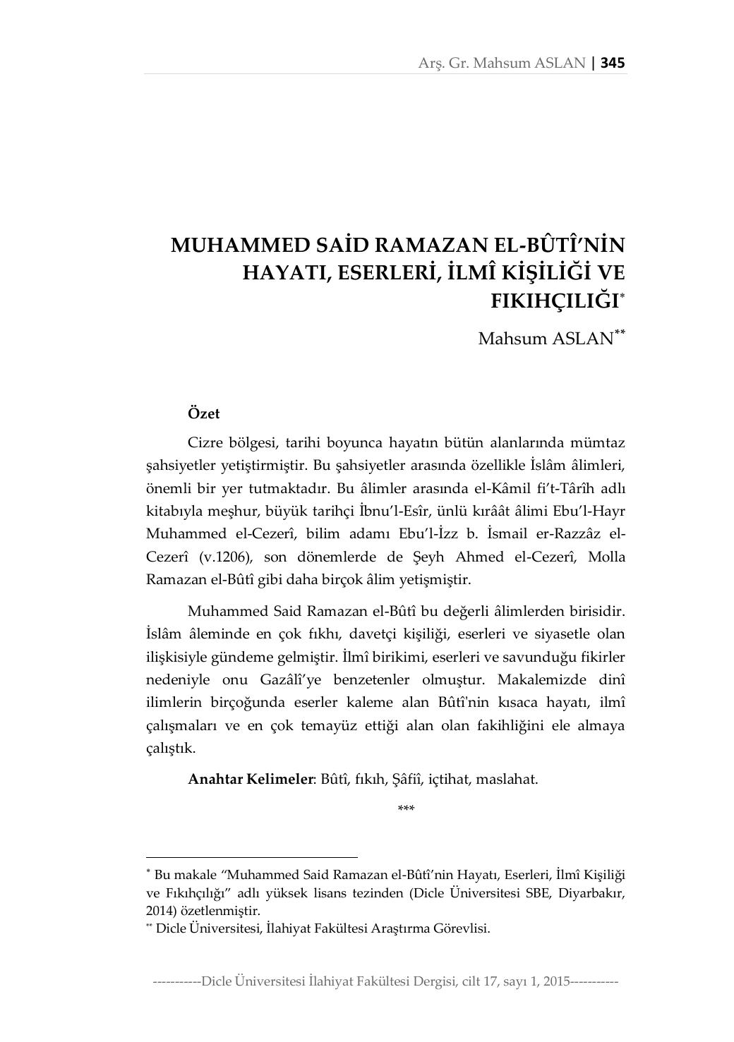 muhammed said ramazan el buti nin