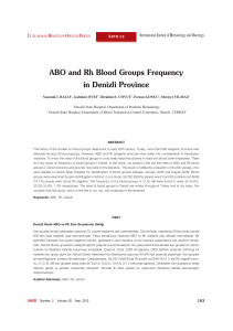 ABO and Rh Blood Groups Frequency in Denizli Province