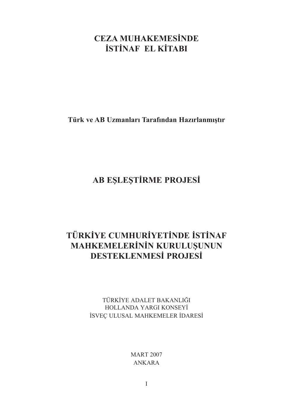 Ceza Muhakemesinde Istinaf El Kitabi Ab Eslestirme Projesi Turkiye