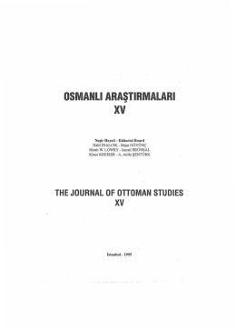 the journal of ottoman studıes xv