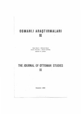 the journal of ottoman. studıes