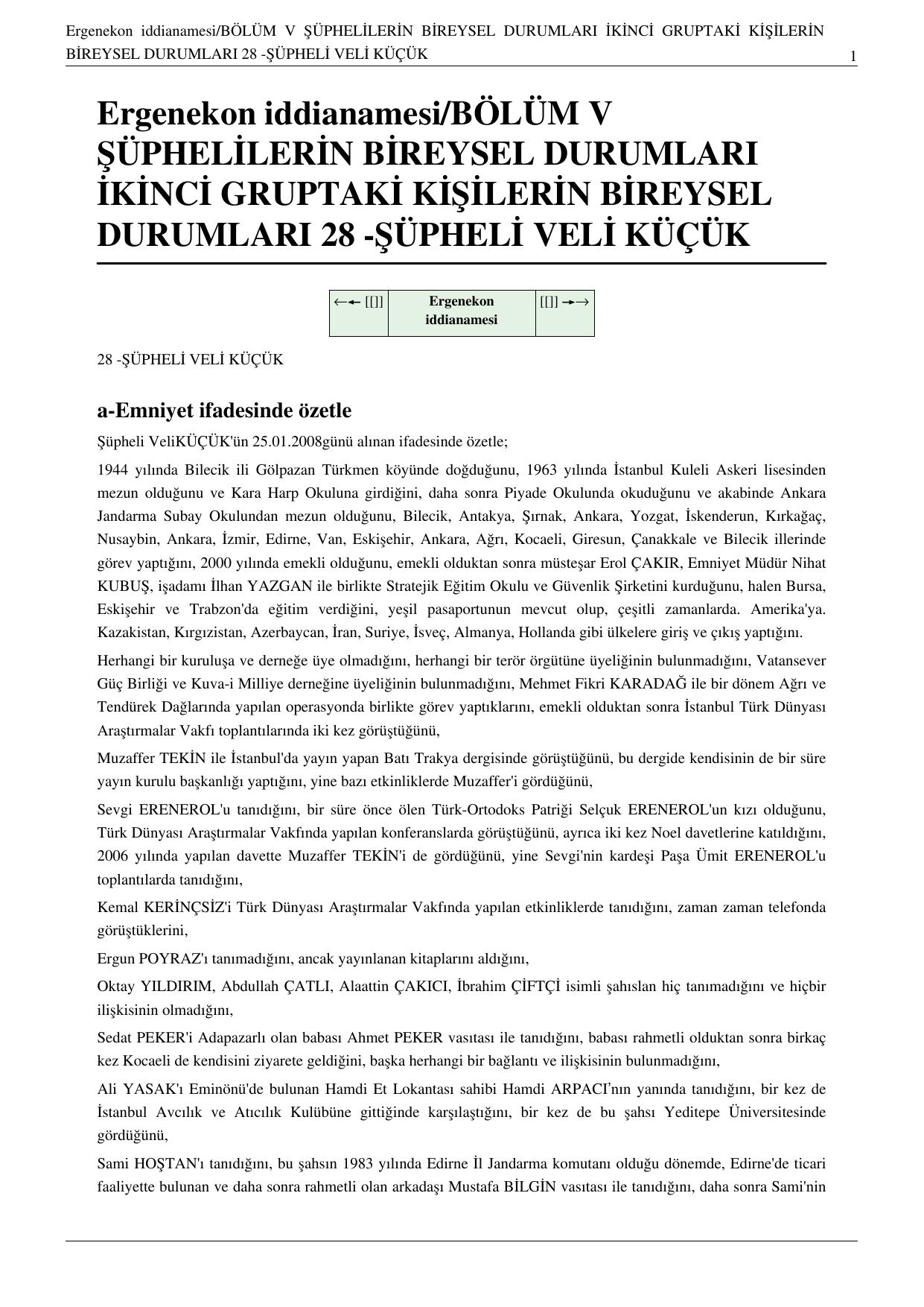 32d0a2eafcea3 Ergenekon iddianamesi/BÖLÜM V ŞÜPHELİLERİN BİREYSEL