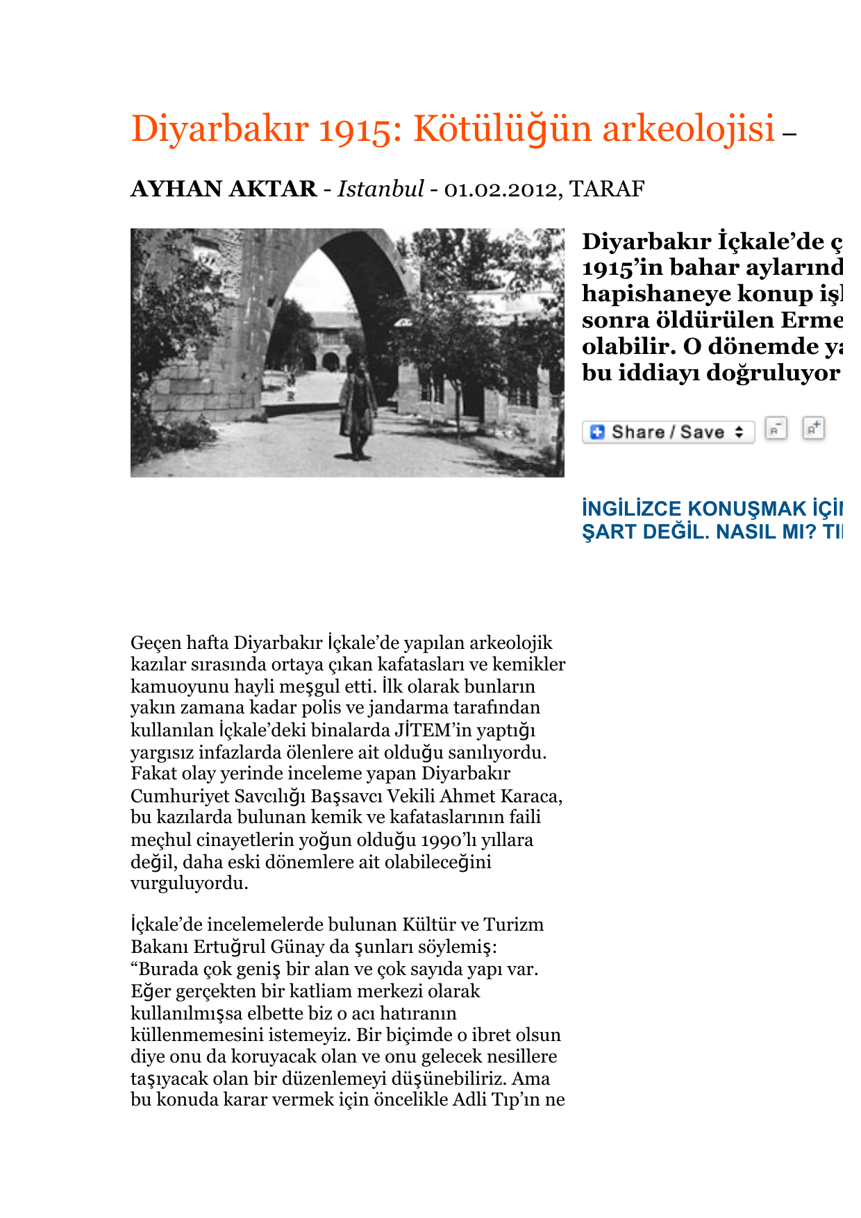 Diyarbakır 1915: Kötülüğün arkeolojisi