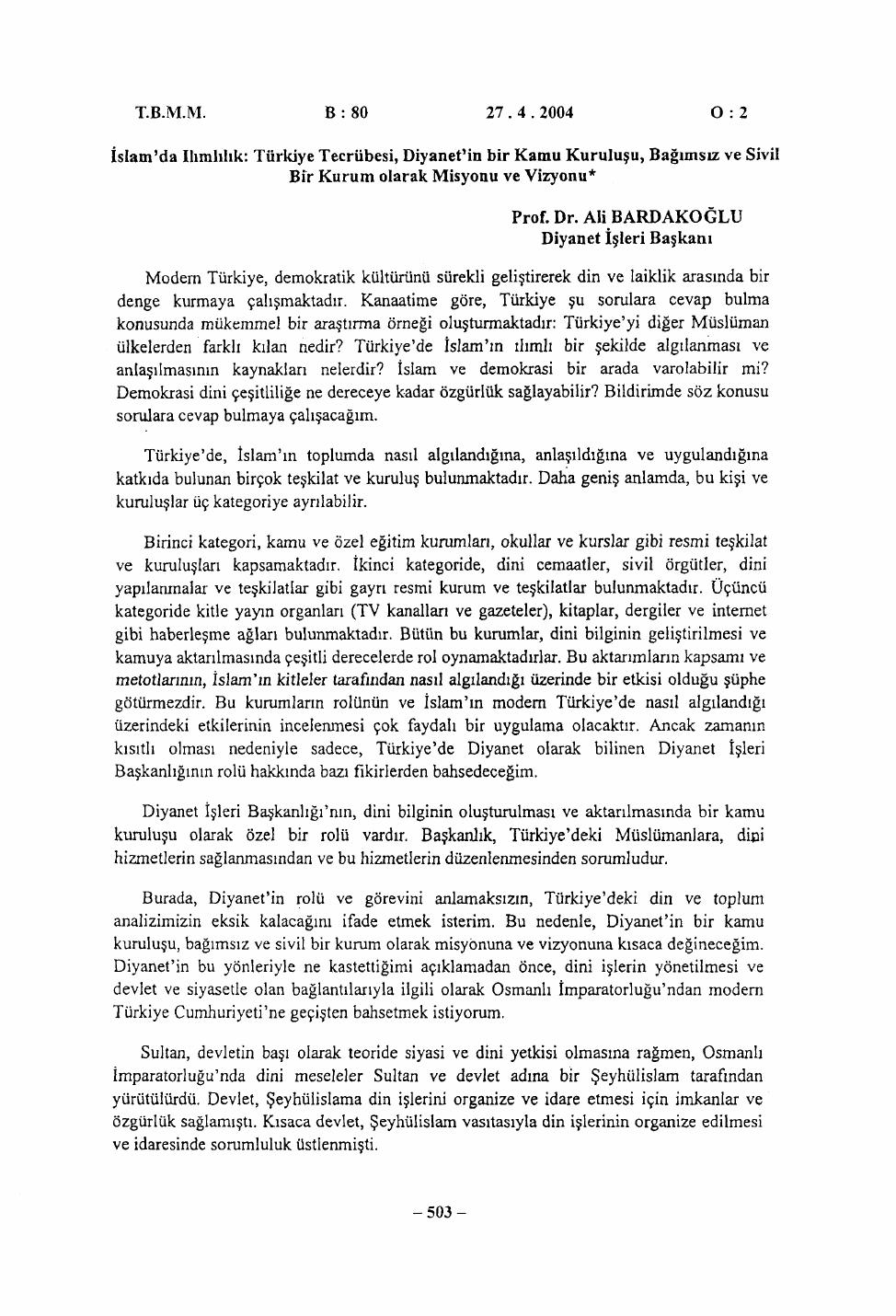 Tbmm B 8 0 02 Islamda Ilımlılık Türkiye Tecrübesi Diyanetin Bir