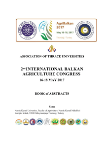 2nd INTERNATIONAL BALKAN AGRICULTURE CONGRESS