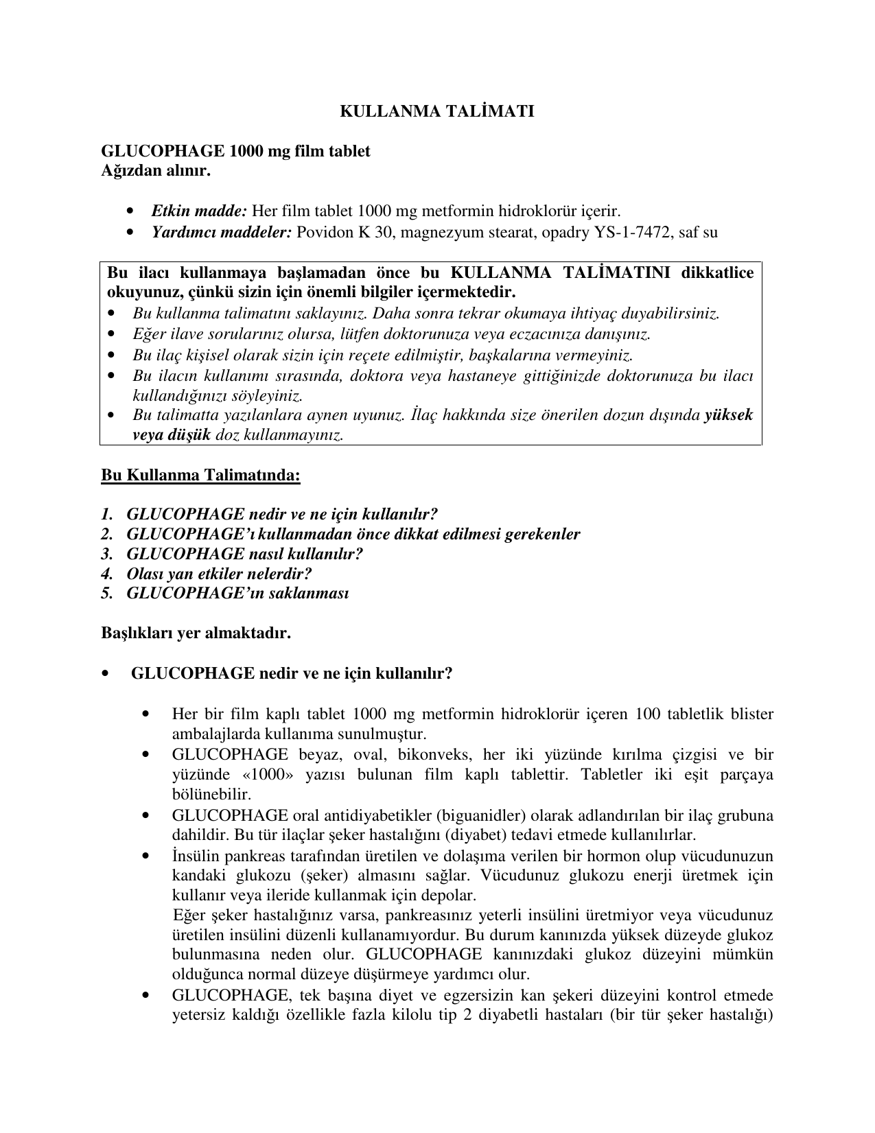 Hazırlık Glucophage: kullanım talimatları