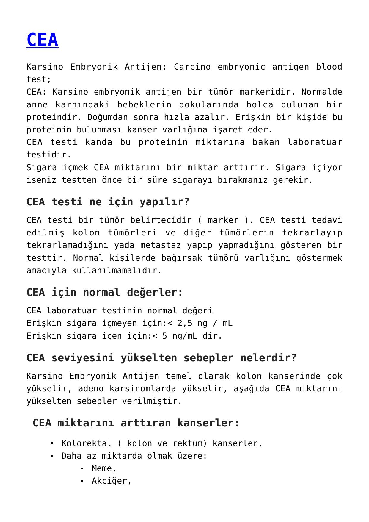 CEA Normal Değeri Nedir, CEA Testi Neden Yapılır