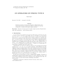 on operators of strong type b - Hacettepe Journal of Mathematics
