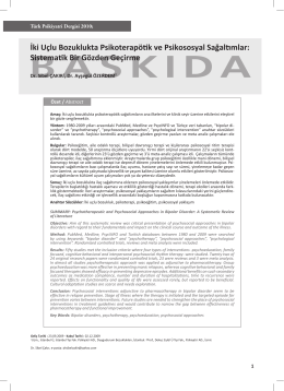 0916_ki uçlu bozuklukta.indd - Turkish Journal of Psychiatry