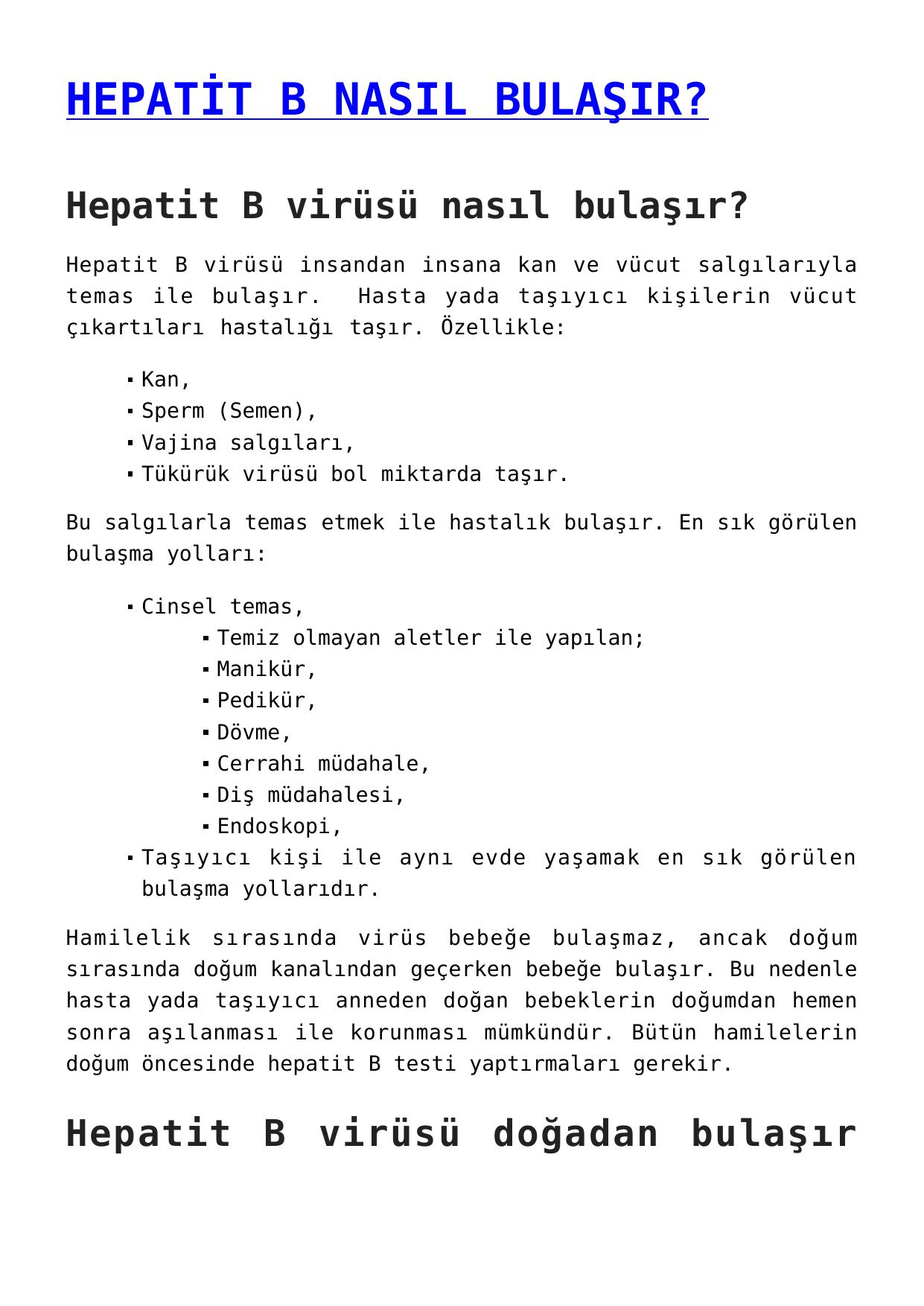 Hepatit için kan testi