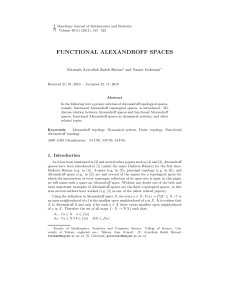 functional alexandroff spaces - Hacettepe Journal of Mathematics