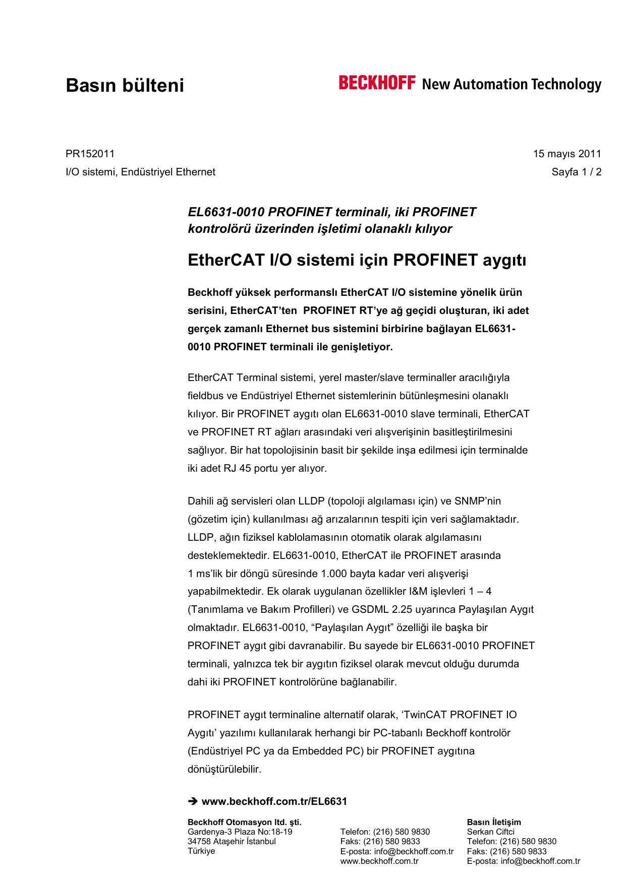 PR152011   EtherCAT I/O sistemi için PROFINET aygıtı