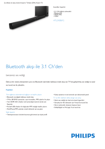Product Leaflet: 3.1 CH kablolu subwoofer Bluetooth® Soundbar