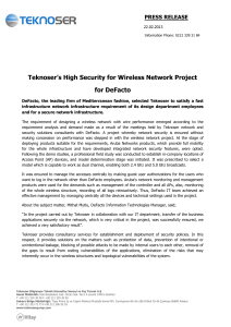 Teknoser`s High Security for Wireless Network Project for DeFacto