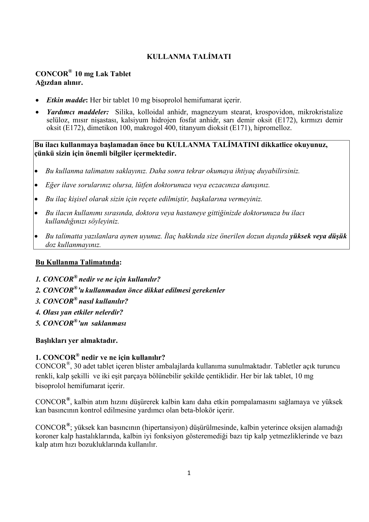 İlaç Concor (hap): ne kullanılır