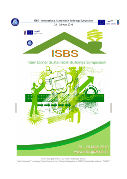 ISBS - International Sustainable Buildings Symposium 26 – 28 May