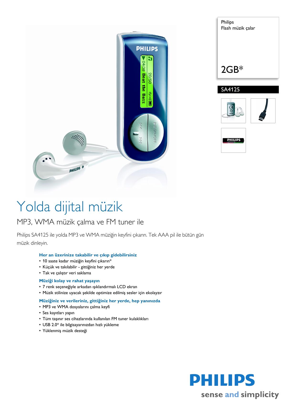 Sa4125 02 Philips Flash Mzik Alar Tekaaa